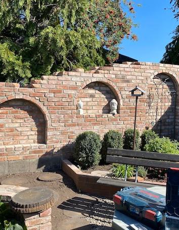 Ziegelsteinmauer Deko