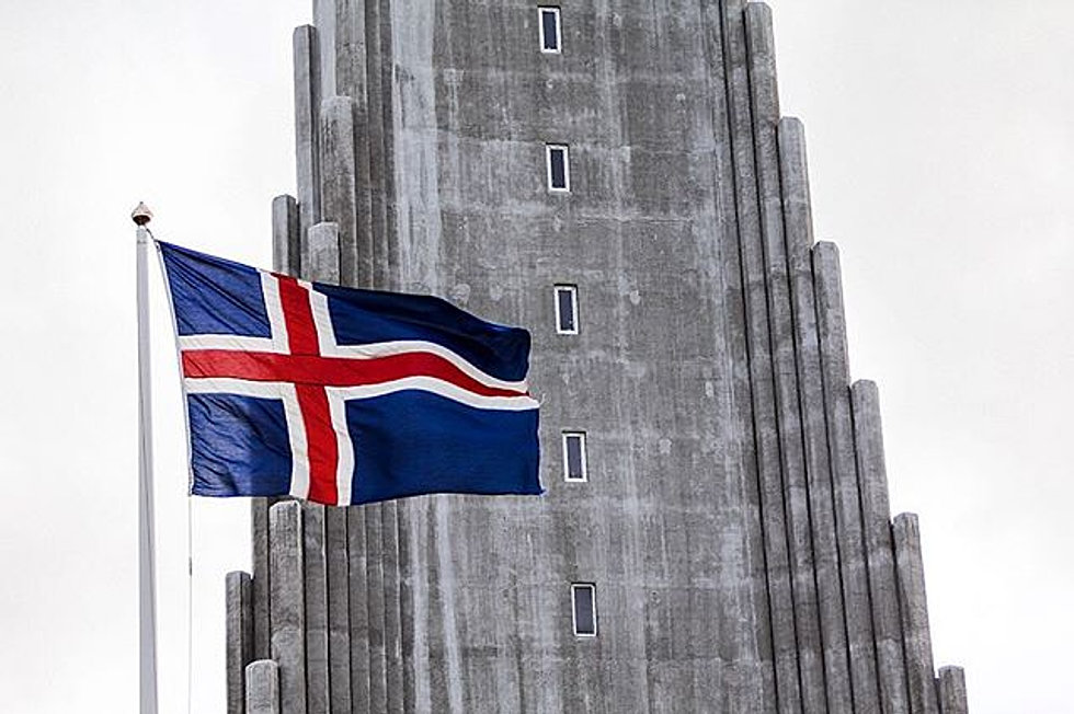 Image result for icelandic flag in front of church
