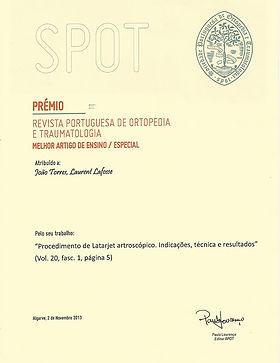 Prémio da RevistaPortuguesa de Ortopedia e Traumatologia