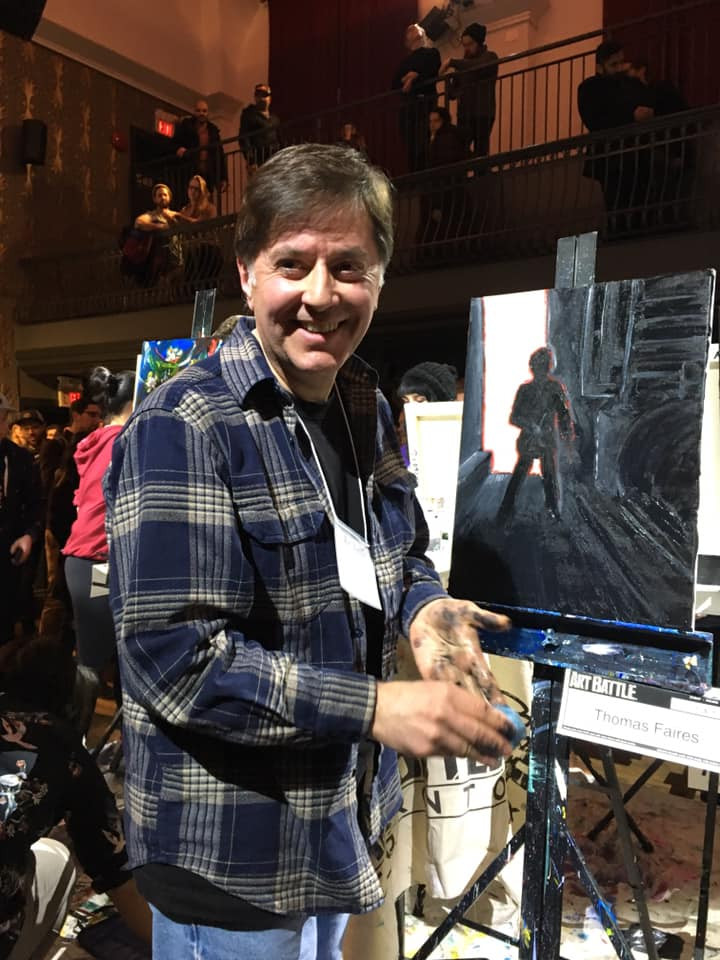Thomas Faires finished painting at Art Battle 760