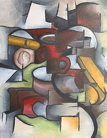 Analytical cubism red cup