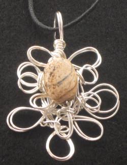 brown bead wire sculpture