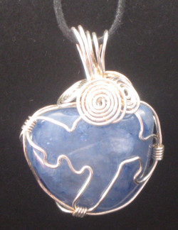 blue wire wrapped pebble