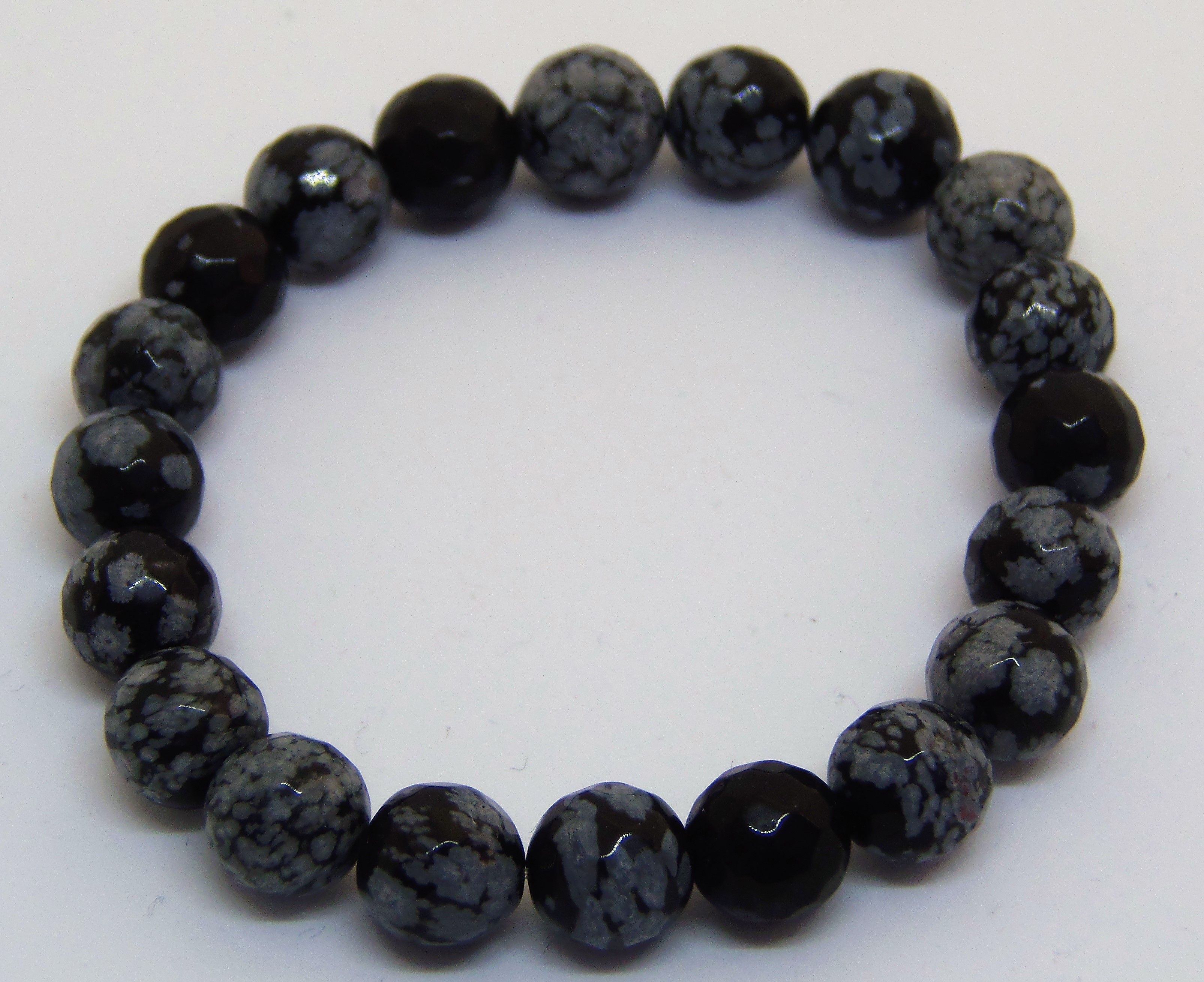 snowflake obsidian stretchy bracelet
