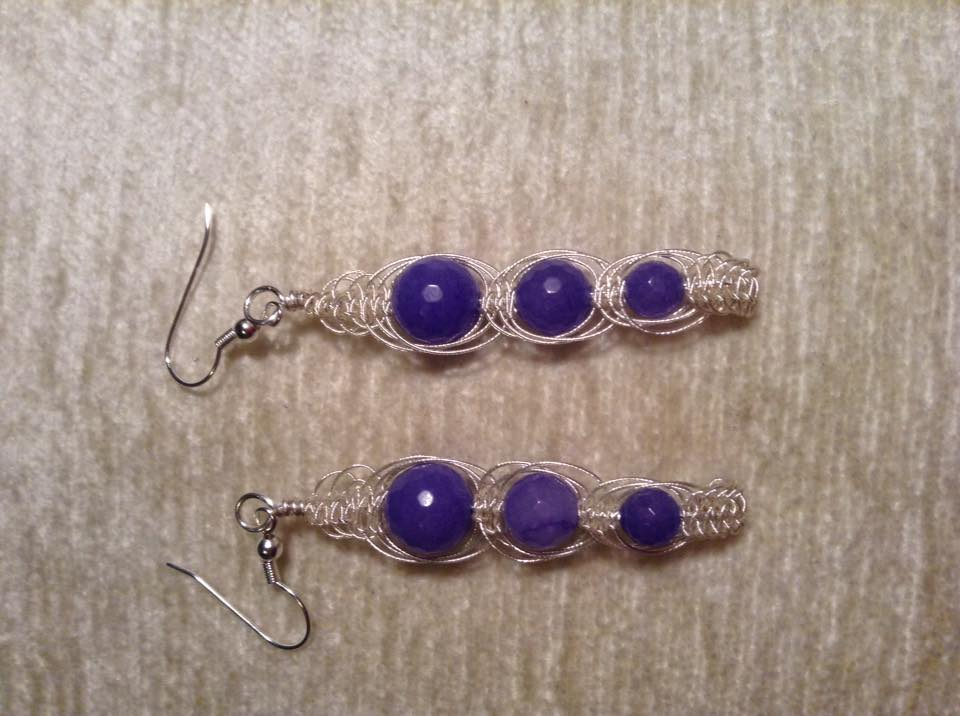 wire macrame earrings