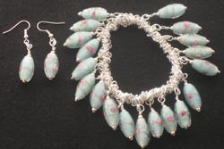 rose bead charm and earrings