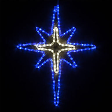 Blue and Cool White Bethlehem Star with Cross Center