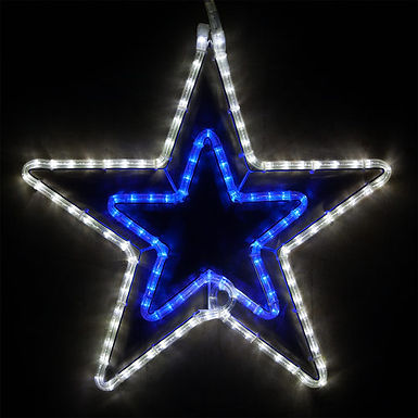 Double 5 Point Star, Blue and Cool White Lights