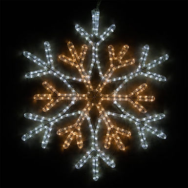 36 Point Star Center Snowflake, Cool White and Warm White Lights