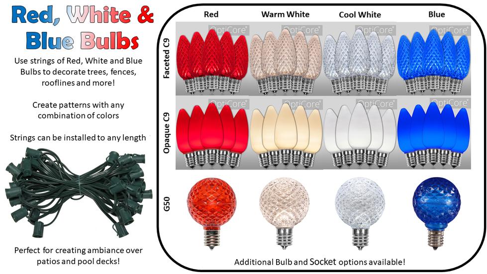 Red, White, & Blue Bulbs