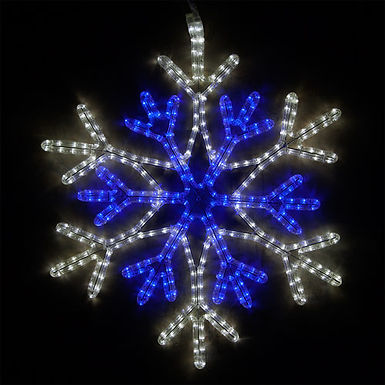 36 Point Star Center Snowflake, Blue and Cool White Lights