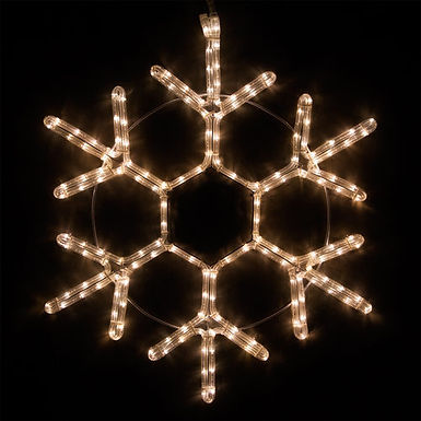 18 Point Snowflake, Warm White Lights