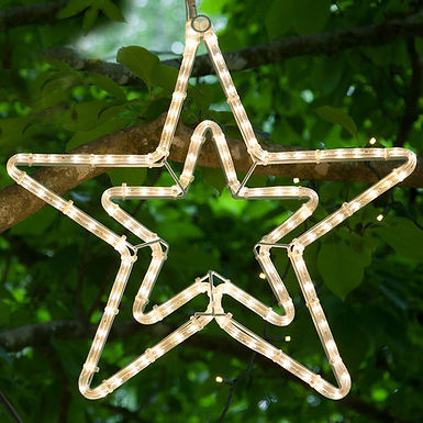 Double 5 Point Star, Warm White Lights