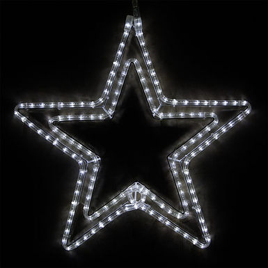 Double 5 Point Star, Cool White Lights