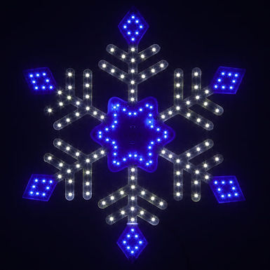 Ultra Bright SMD Diamond Tipped Snowflake, Blue and Cool White Lights