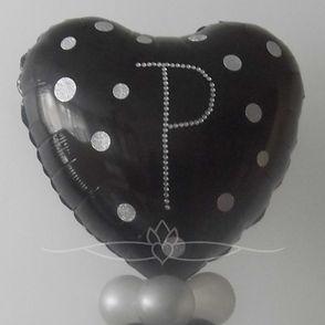 black and silver wedding heart shape balloon