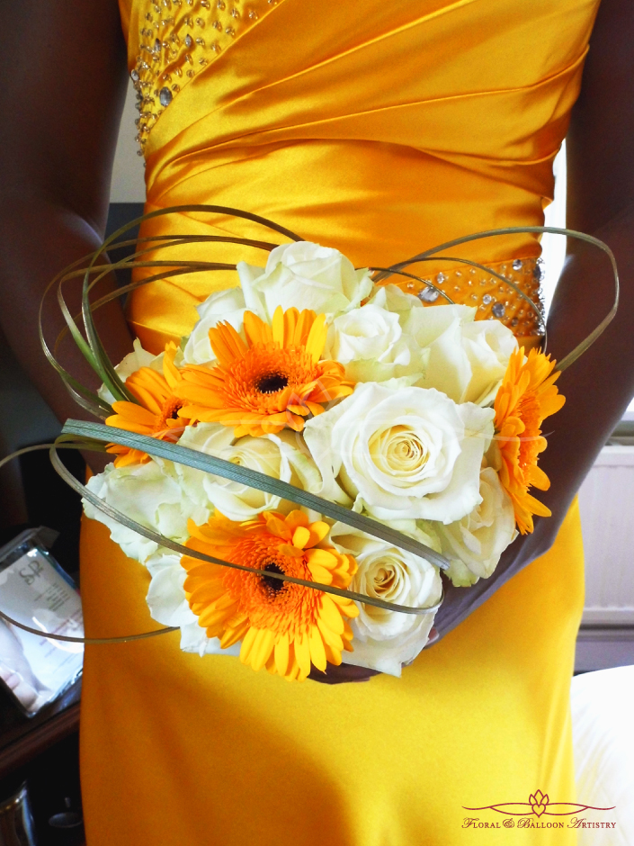 Yellow & Ivory Bridesmaid Flowers