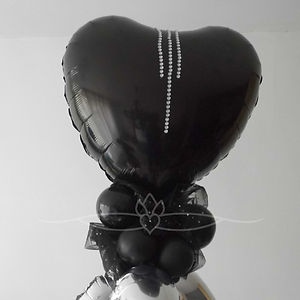 black and silver wedding heart shape balloon