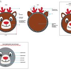 Reindeer Large Disk Squeaker Pet Toy