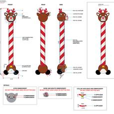 Reindeer Long Neck Plush Pet Toy Tech Pack