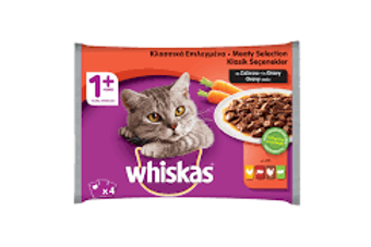 Whiskas +1 Year 4 Pack  Meaty Selection  100g each