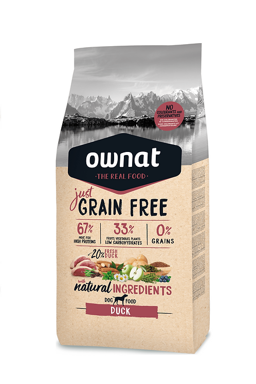 Ownat Grain Free Adult Duck  Size - 3-14kg