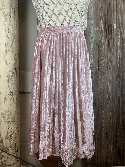 Pink velvet pleated skirt