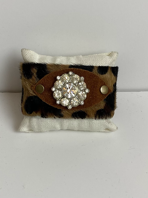 Hair on leopard leather Cuff