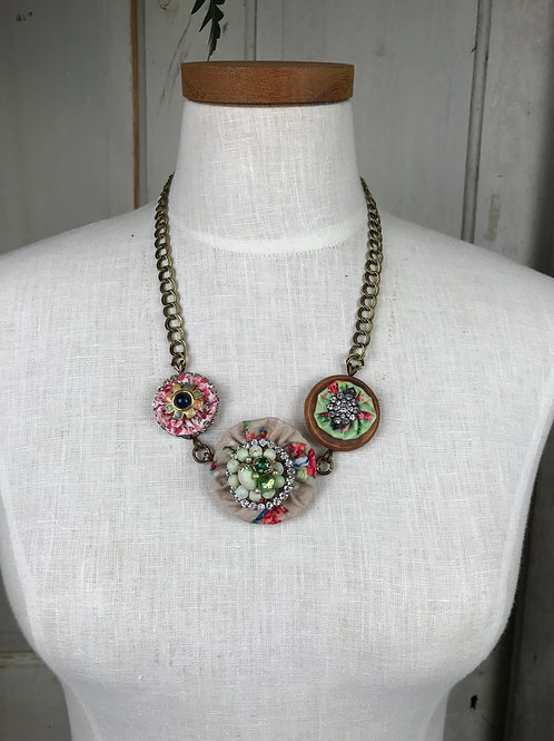 Mixed pattern fabric Necklace