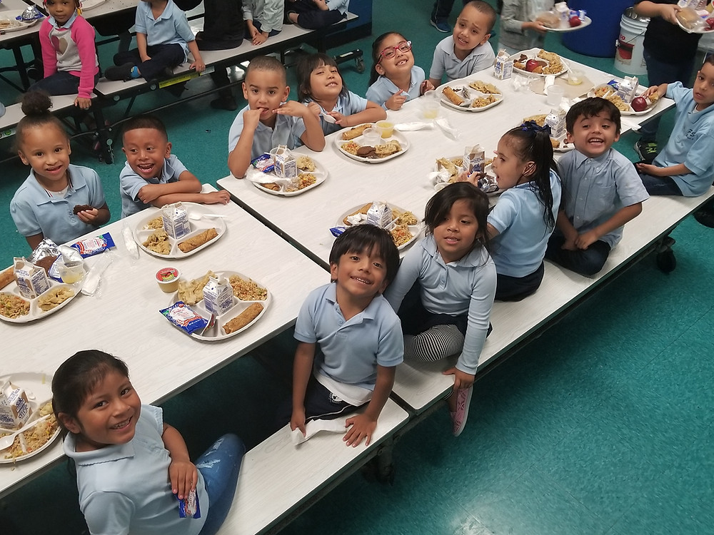 Children eating in cafeteria