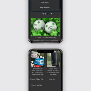 Golf Galaxy Homepage: Mobile