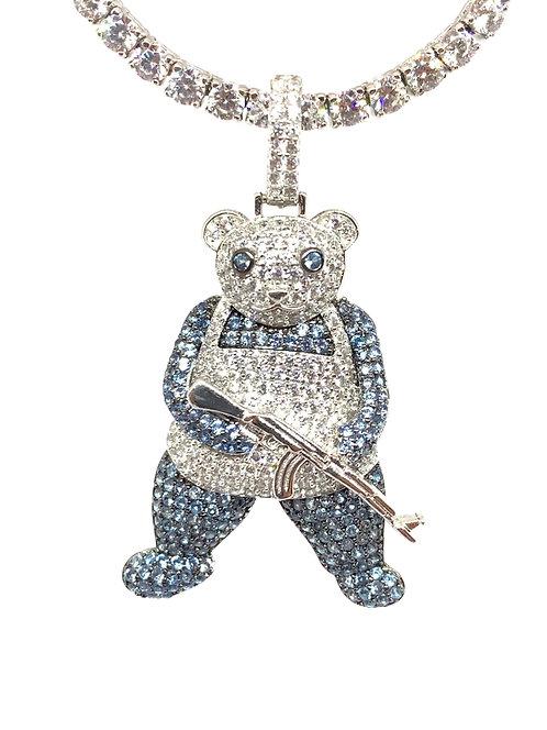 .925 Silver Bear With Gun Pendant