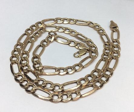 """10 Karat Rose Gold Figaro Necklace 22.5"""""""