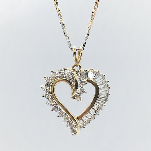 10 Karat Yellow Gold Woman's Heart Pendant With CZ