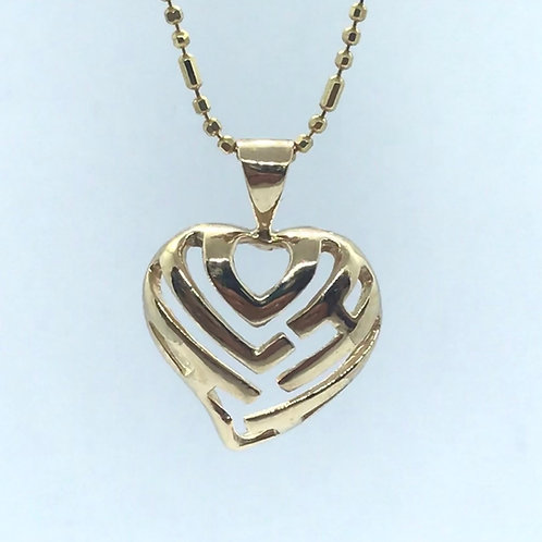 14 Karat Yellow Gold Heart Pendant