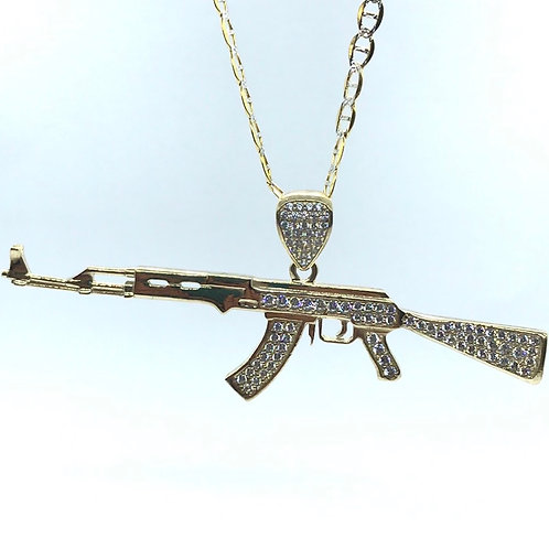 10 Karat Yellow Gold AK47 Pendant