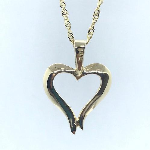 14 Karat Yellow Gold Heart Pendant