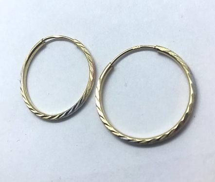 14 Karat 3 Tone Gold Earrings