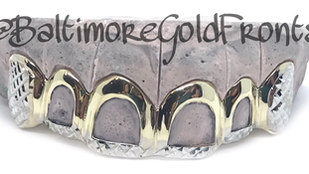 6 Golds Yellow Gold 4 Open Faces solid Ends W/Princess cuts