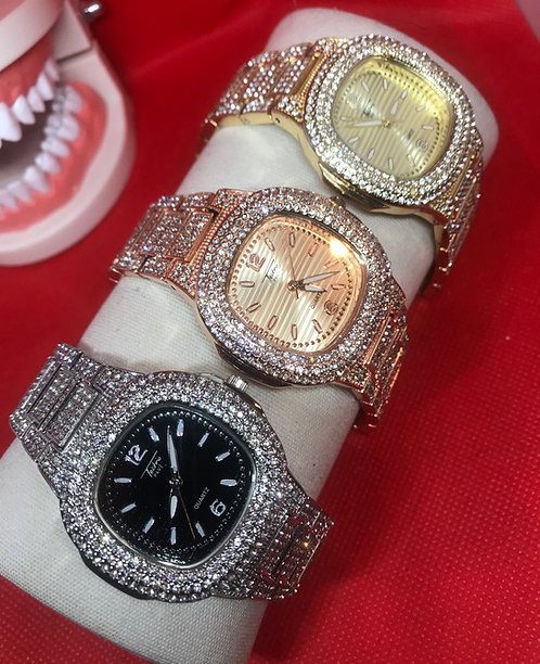 Gold Techno Pave Bust Down Watch