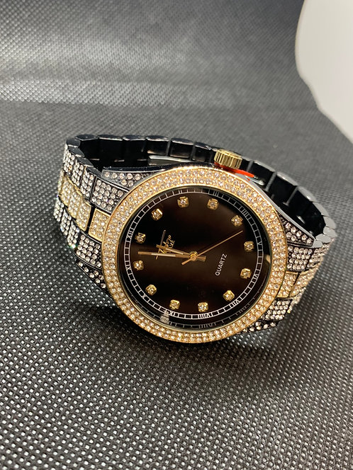 Gold and Black Techno Pave Watch