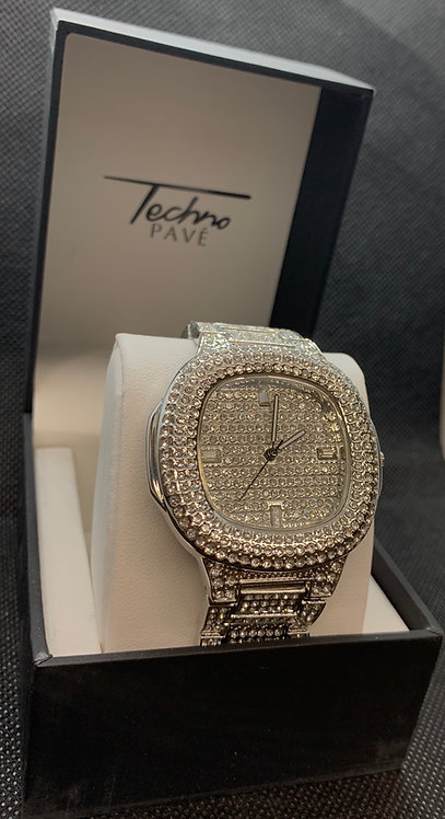 Silver Techno Pave Bust Down Watch