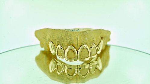 4 Open-Face & 2 Plain Solid Deep-cut Perm In Gold