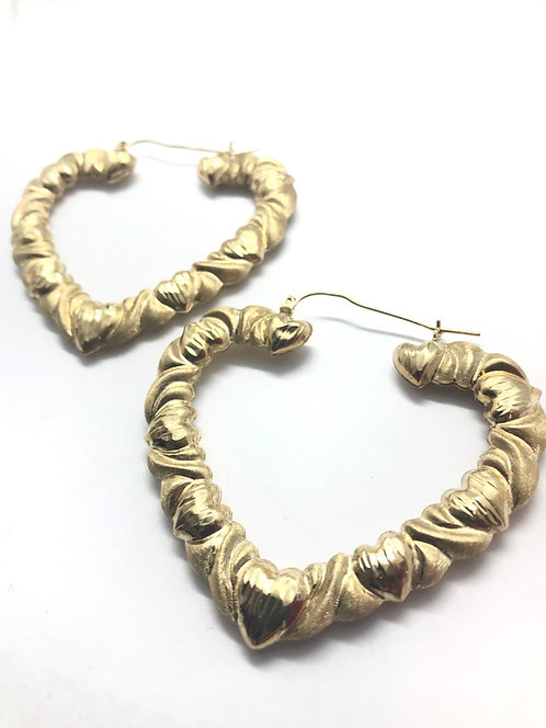 10 Karat Yellow Gold Heart Shaped Earrings