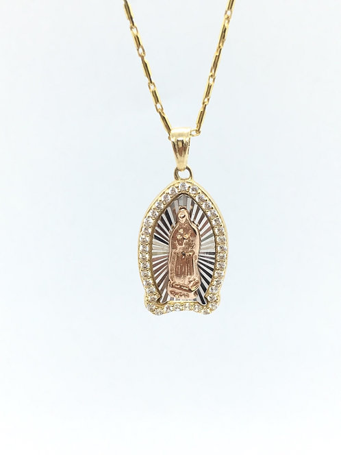 14 Karat Yellow, Rose, and White Gold Pendant With CZ