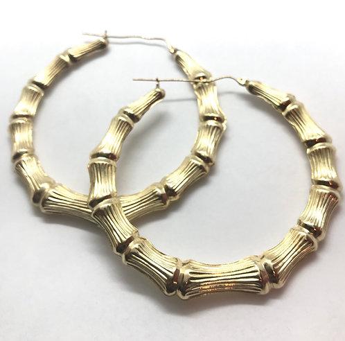10 Karat Yellow Gold Bamboo Earrings