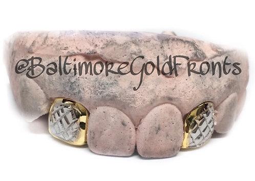 2 Piece Gold 10K Diamond Cuts w/ White Gold and Back Bridge