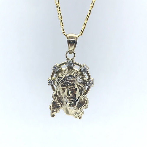 10 Karat Yellow Gold Jesus Pendant With CZ