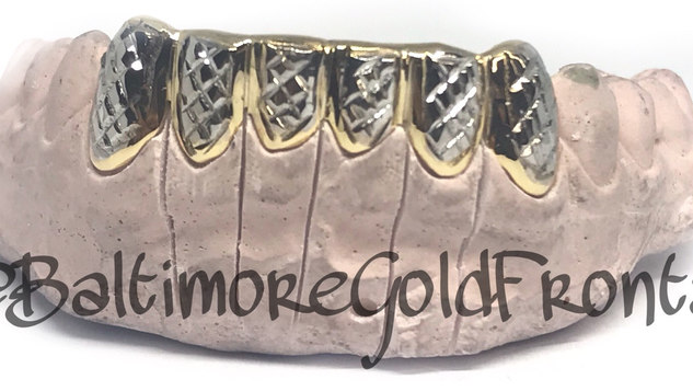 6 BottomsYellow Gold With Princess Cuts In White Gold