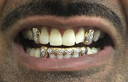 2 Top Fangs W/Diamond Cuts & 2 Bottom Fangs Front Bar